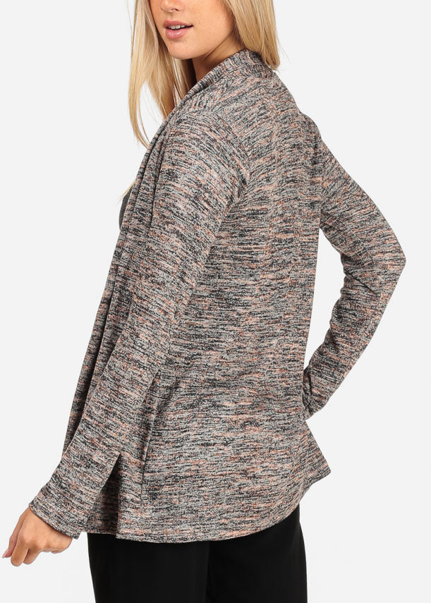 Women's Junior Casual Going Out Comfy Heather Print Open Front Long Sleeve Mocha Cardigan