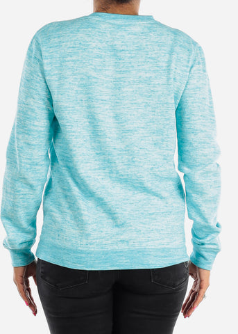 Image of Cozy Heather Blue Pullover Sweatshirt