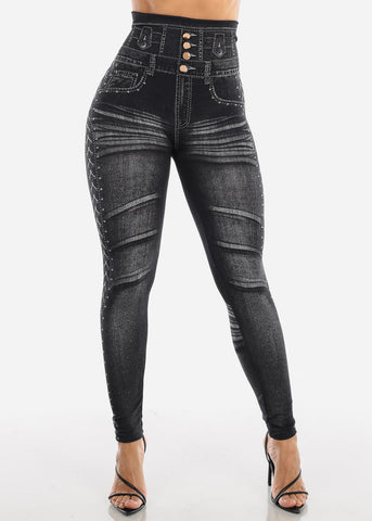 Black Faux Denim Print Leggings