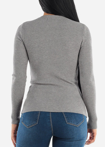 Cozy Classic Ribbed Grey Sweater