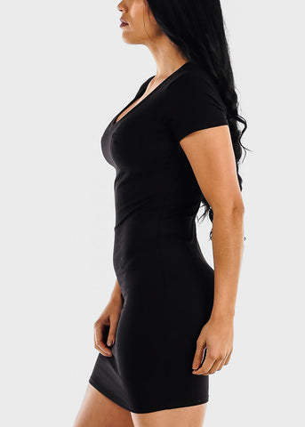 Black V Neck Bodycon Mini Dress