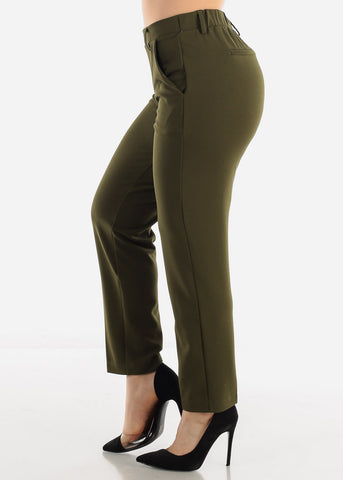 Pull On Olive Dressy Pants