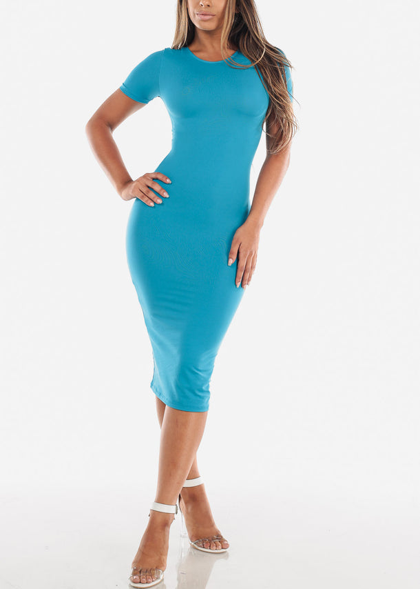 Short Sleeve Light Blue Bodycon Midi Dress