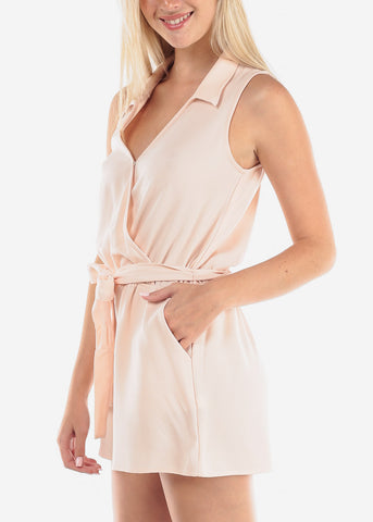 Image of Women's Junior Ladies Going Out Casual Sleeveless Wrap Front Light Pink Blush Romper With Tie Belt