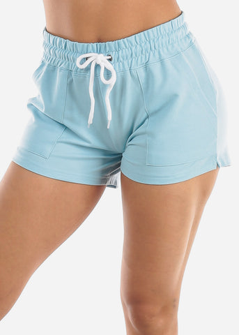 Image of Light Blue Drawstring Waist Shorts
