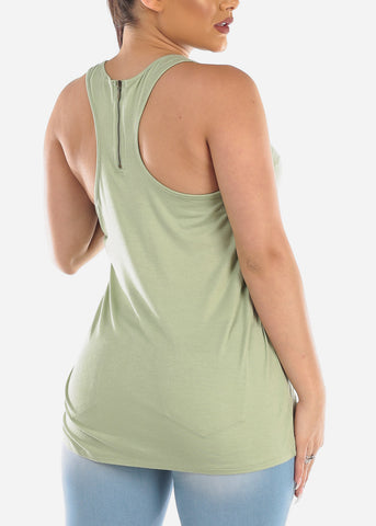 Faith Graphic Print Basic Essential Super Stretchy Light Green Sleeveless Tank Top For Women Ladies Junior