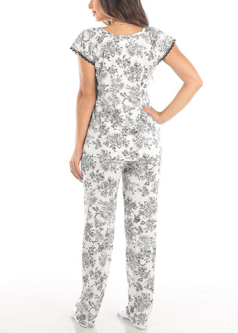 Short Sleeve Floral Print White Top And Pants Two Piece Set Sleepwear