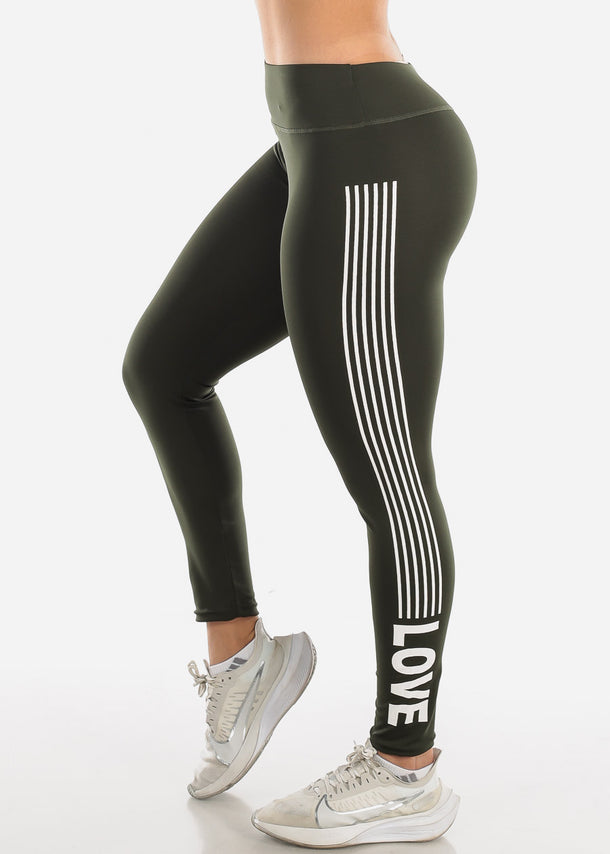 Activewear Olive Stripe Leggings