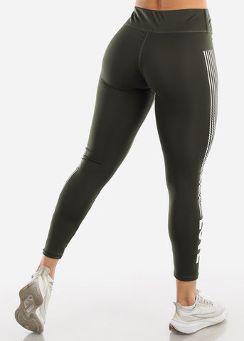 "Activewear Olive Stripe Leggings ""Love"""