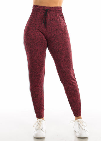 Image of Drawstring Heather Red Jogger Pants
