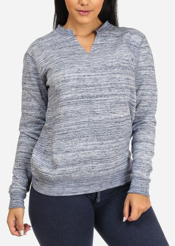 Cheap Heather Navy Pullover Sweatshirt