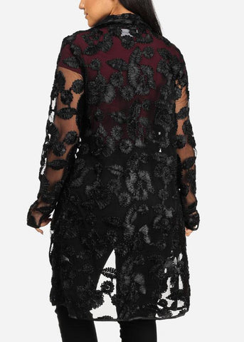 Affordable Stylish Long Sleeve Open Front Floral Print See Through Black Cardigan