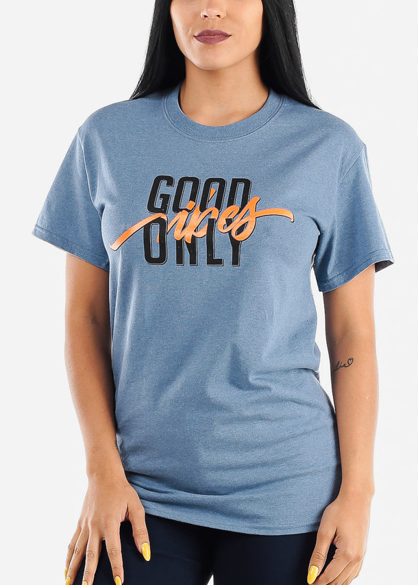 "Heather Indigo Graphic Top ""Good Vibes Only"""