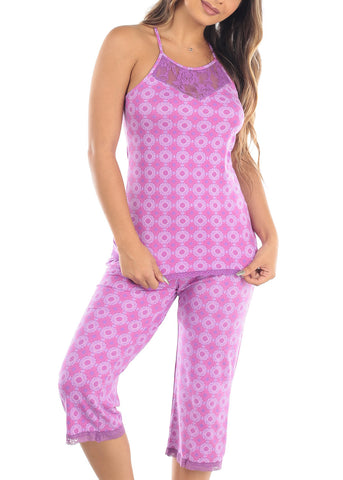 Image of Sleeveless Purple Print Cami Tank And Capris Two Piece Set Sleepwear