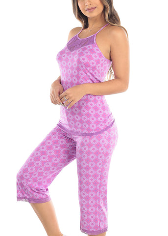 Sleeveless Purple Print Cami Tank And Capris Two Piece Set Sleepwear