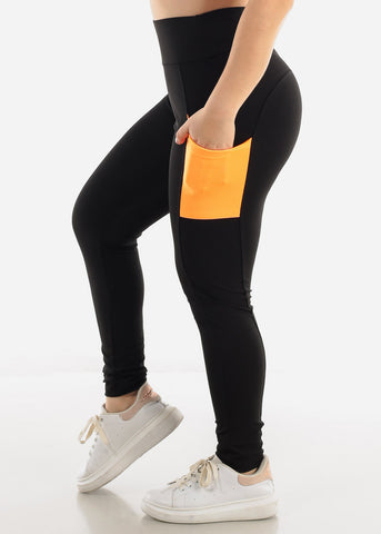 Black & Orange Side Pockets Leggings