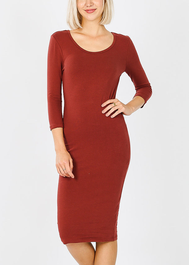 Quarter Sleeve Brick Bodycon Dress