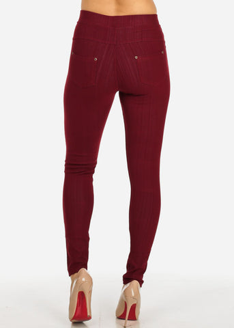 Burgundy Pull-On Stretchy Skinny Pants