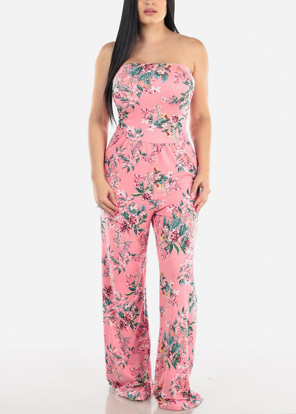Strapless Pink Floral Jumpsuit