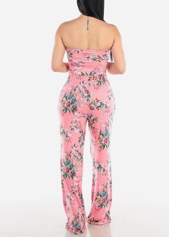 Image of Strapless Pink Floral Jumpsuit
