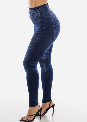 Blue Faux Distressed Denim Print Leggings