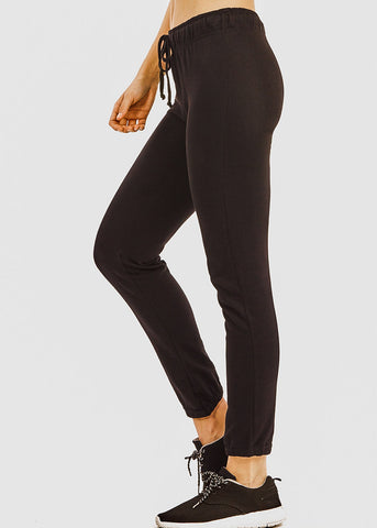 Image of Drawstring Waist Black Jogger Pants