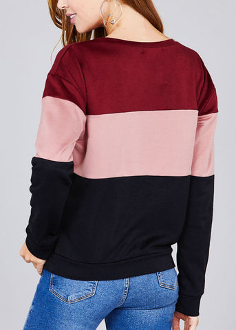 Round Neckline Long Sleeve Multi Color Burgundy Stripe Pullover