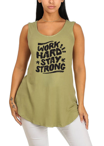 Image of Sleeveless Green Work Hard Stay Strong Stretchy Graphic Print Tank Top