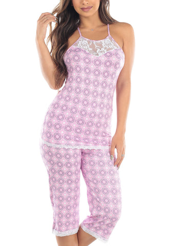 Image of Sleeveless Pink Print Cami Tank And Capris Two Piece Set Sleepwear