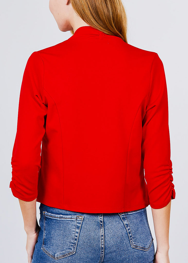 Three Quarter Red Open Front Blazer