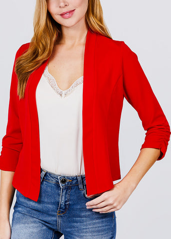 Image of Three Quarter Red Open Front Blazer