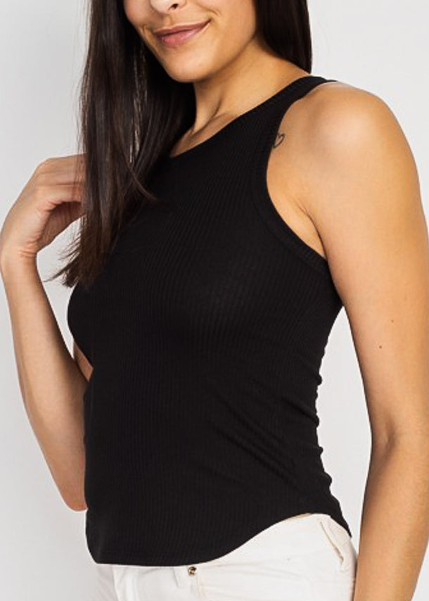 Black Sleeveless Ribbed Tank Top