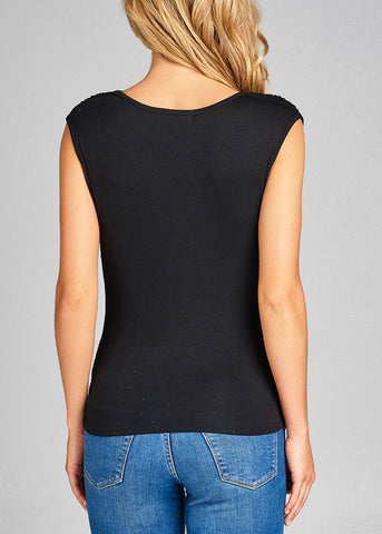 Stylish Sleeveless Cowl Neckline Shirred Black Top