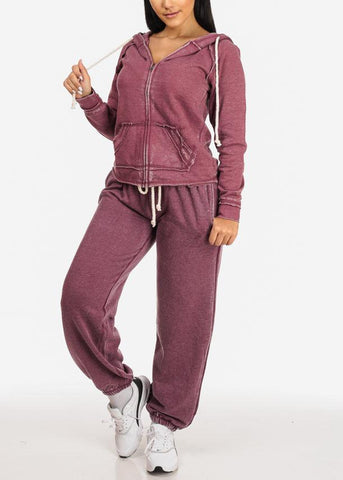 Affordable Low Rise Drawstring Waist Eggplant Jogger Pants