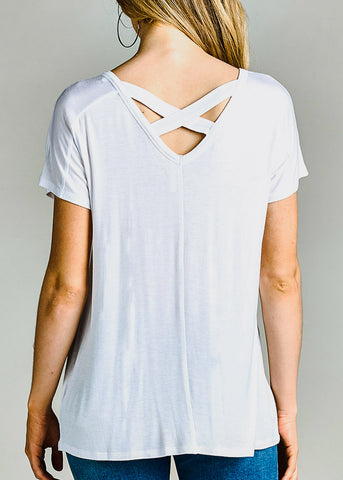 Image of Criss Cross Back White Top
