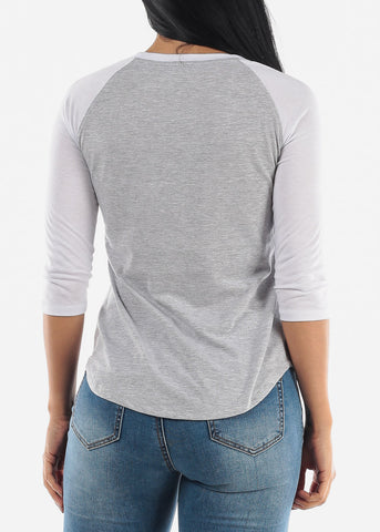 Grey Raglan Top