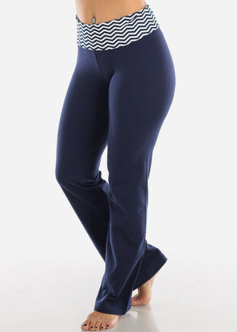 Image of Navy Zig Zag Yoga Pants