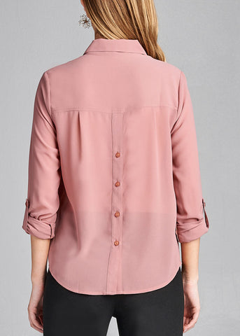 Image of Office Business Wear 3/4 Sleeve Button Up Pink Blouse Top