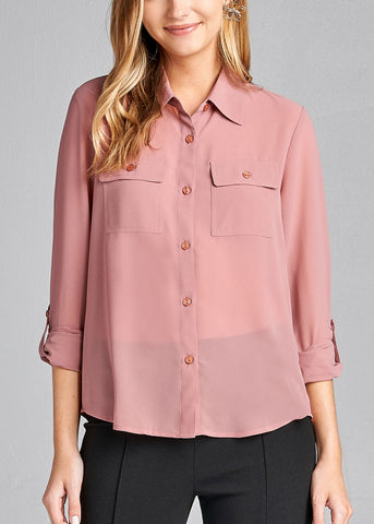Office Business Wear 3/4 Sleeve Button Up Pink Blouse Top