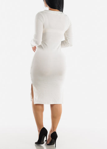 Image of Button Down White Bodycon Sweater Dress