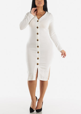 Button Down White Bodycon Sweater Dress