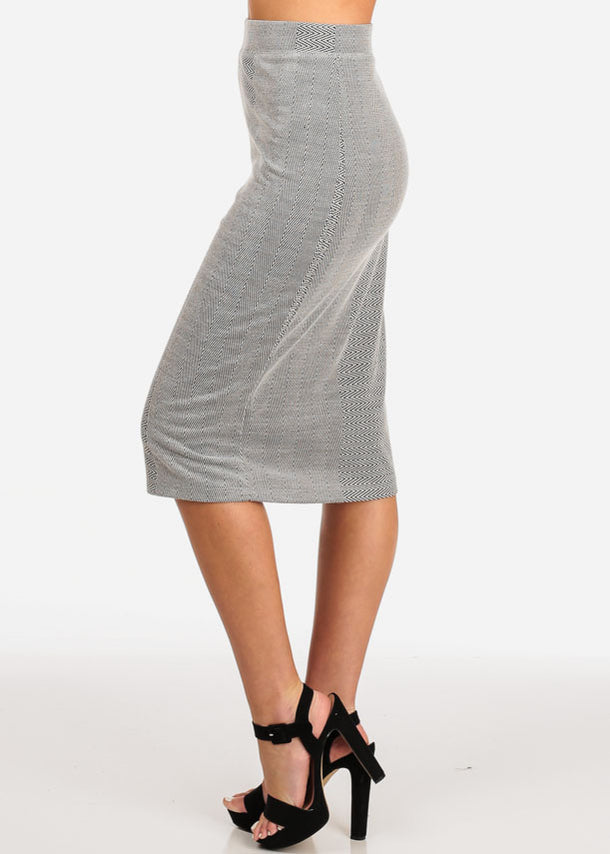 Printed Grey Midi Skirt