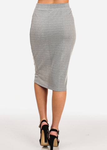 Women's Junior Ladies Professional Business Office Career Wear Printed Grey Pencil Midi Skirt