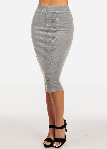 Image of Women's Junior Ladies Professional Business Office Career Wear Printed Grey Pencil Midi Skirt