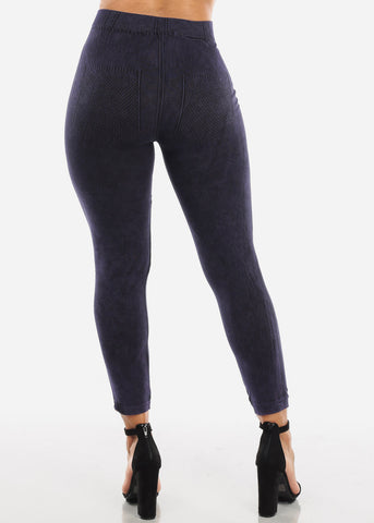 False Jean Print Purple Leggings