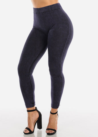 Image of False Jean Print Purple Leggings