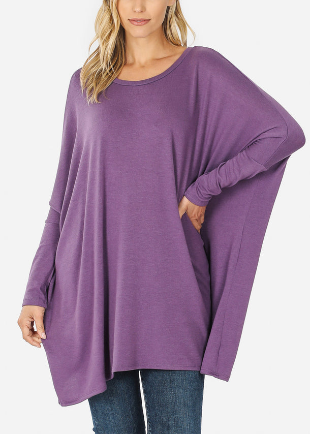 Lilac Long Sleeve Dolman Tunic