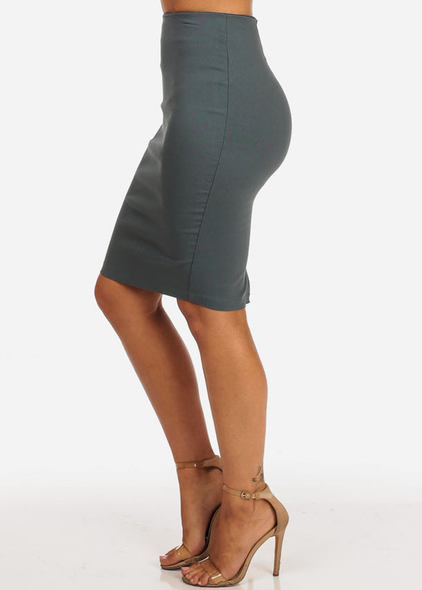 Grey High Rise Pencil Skirt