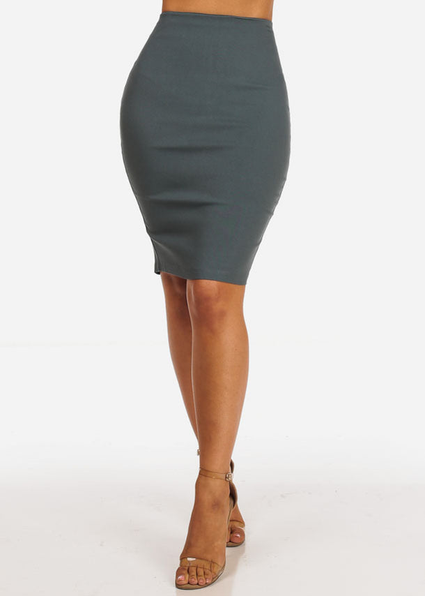 Office Business Wear High Waisted Grey Pencil Skirt