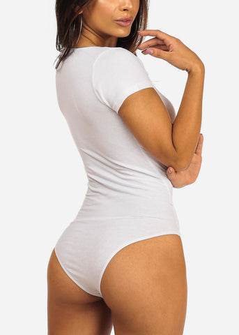 Image of Essential Wrap Front Short Sleeve Sexy White Bodysuit